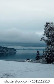 Snowy and cloudy pudget sound, Whidbey island, WA, USA