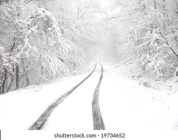 Snowy country lane