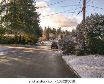 Snowy day in in February in Bellevue,WA