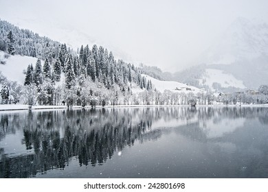 A snowy day in the Swiss Alps.