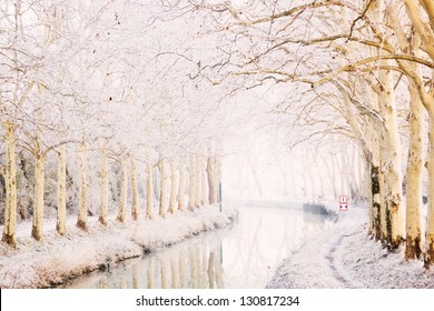 Snowy day in Toulouse, France: Canal du Midi in winter
