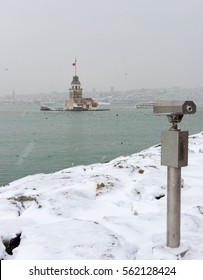 Snowy day in Uskudar. View of Maiden's Tower in Uskudar, Istanbul, Turkey.