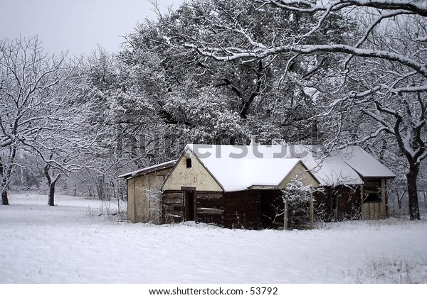 Snowy Deserted Ranch Home