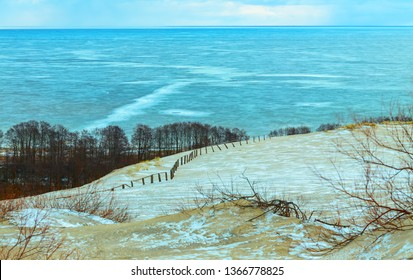 Snowy dunes in the early wirter morning. Curonian Spit, Lithuania.