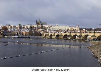Snowy freeze Prague Lesser Town with Charles Bridge and Prague Castle, Czech republic