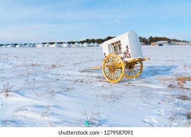 Snowy grassland and yurts in Hulunbeier, Inner Mongolia, China