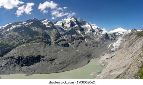 Snowy Grossglockner summit with Pasterze glacier from view point of kaiser-franz-josefs-hoehe in Austria