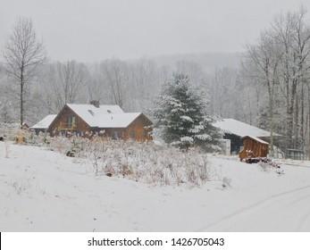 Snowy homestead scene from the Appalachia area of central Pennsylvania