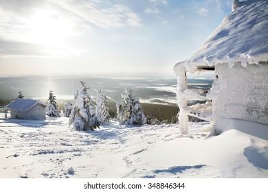 Snowy house. Finland. Levi.