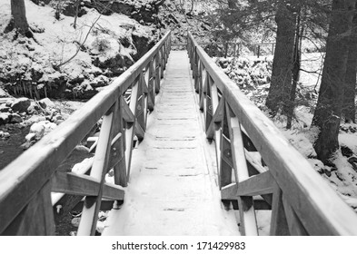A snowy, icy footbridge crossing the beautiful Ravennaschlucht gorge in the Black Forest, Germany