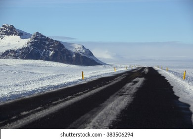 Snowy and icy road conditions in Iceland