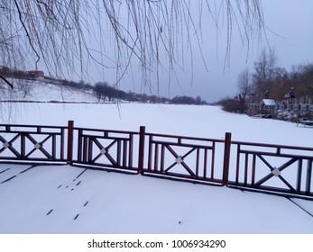 snowy  lake winter landscape