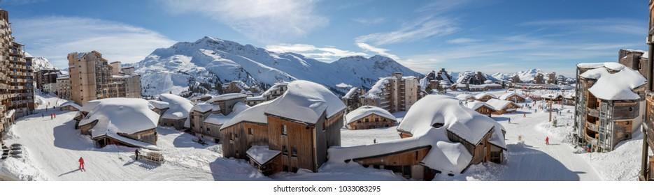 Snowy landscape of Avoriaz ski resort in France on a sunny day