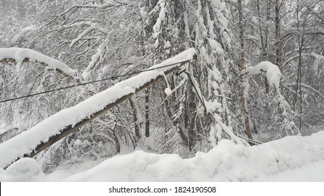 Snowy landscape with damaged powerlines in the Norwegian inlands