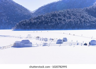 snowy landscape in lake shikaribetsu