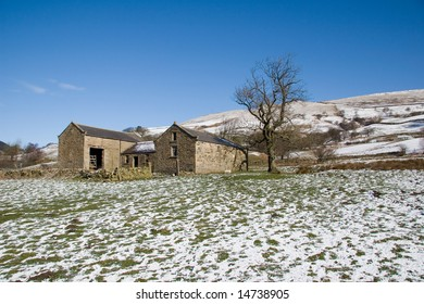 Snowy landscape in the Peak District, England.