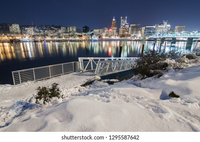 Snowy Landscape of Portland Oregon USA by Waterfront
