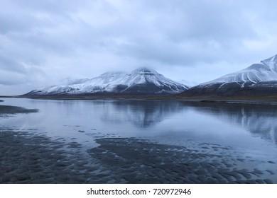 Snowy landscape of Spitsbergen