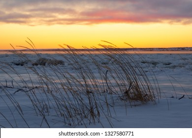 Snowy landscape at sunset, Churchill, Canada