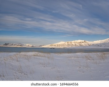 A snowy meadow on the coast of Iceland with mountains in the background