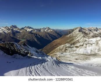 Snowy mountain landscape of Austrian Alps, Solden, Tyrol, Austria. Ski slope at Solden Austrian ski resort.