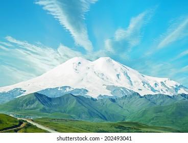 Snowy mountain landscape. Mount Elbrus, Caucasus mountain range, Russia