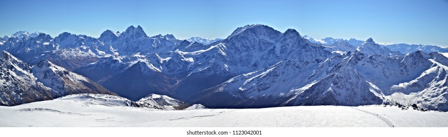 Snowy mountain panorama Mount Elbrus