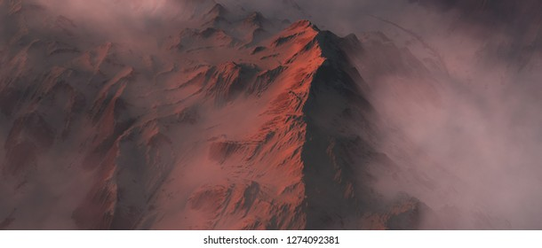 Snowy mountain peak in clouds at sunset. Aerial view.