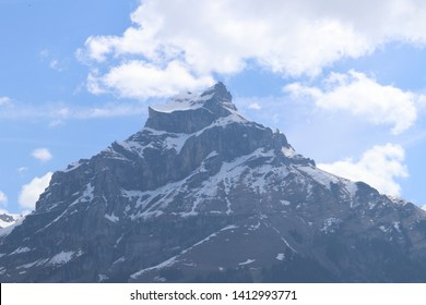Snowy mountain peak near mount titlis