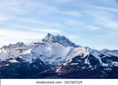 Snowy mountain peaks in the Swiss Alps
