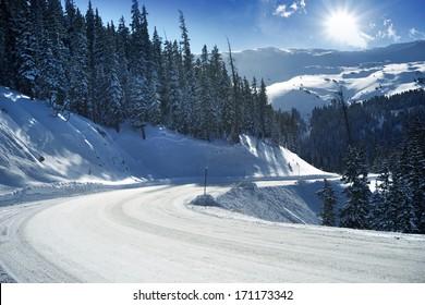 Snowy Mountain Road in Colorado, United States. Winter in Colorado.