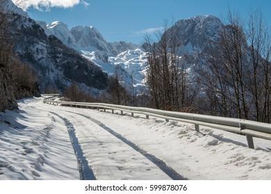 Snowy mountain road  (landscape)
