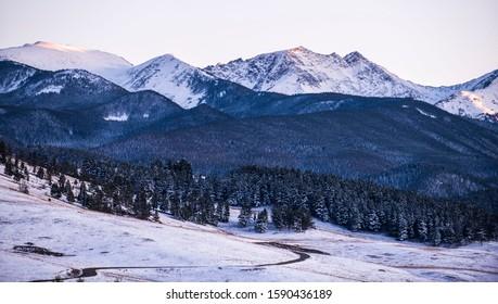 Snowy mountain scenes outside of Bozeman, MT