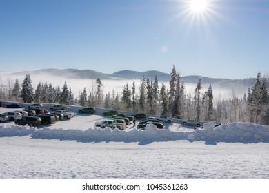 Snowy mountain ski resort. Mt. Spokane.