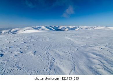 snowy mountain top, Murmansk region, Russia