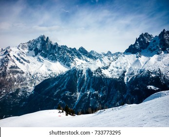 Snowy mountain view in the French Alps in winter