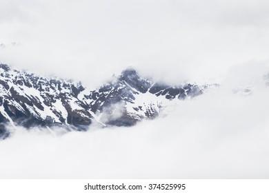 Snowy mountains in the Alps near Innsbruck
