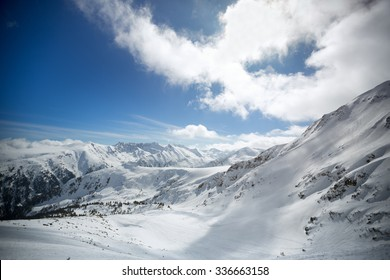 snowy mountains at Bansko, Bulgaria, nature background
