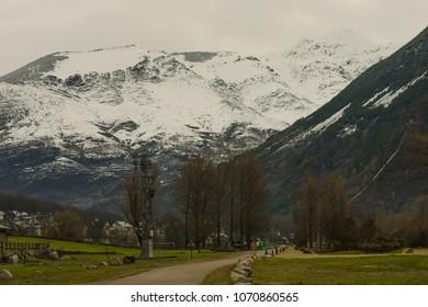 Snowy mountains in Barruera, Vall de Boi, Pyrenees, Lleida, Catalonia
