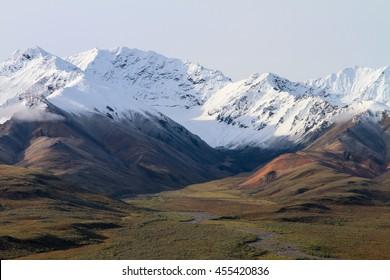 Snowy Mountains at Denali National Park in Alaska