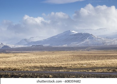 Snowy mountains in Iceland with yellow grass in the foreground