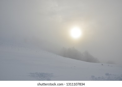 snowy mountains Karpaty in winter morning light with fog & sun. Pylypets, Ukraine