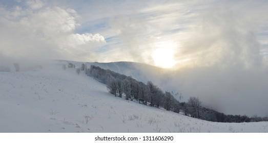 snowy mountains Karpaty in winter morning light