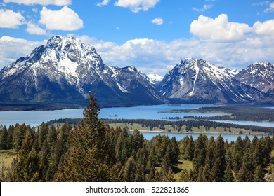 Snowy mountains and lakes. Grand Teton National Park. Wyoming. U.S