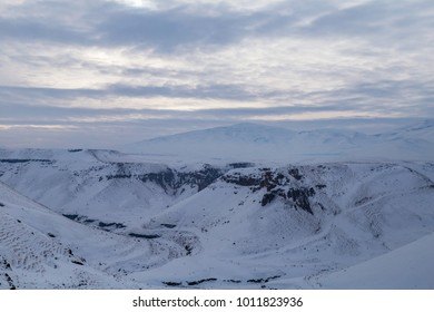 Snowy mountains, landscape, Kars, Turkey
