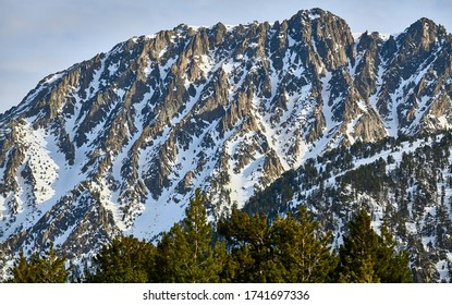 Snowy mountains at Aigüestortes National Park in Lleida