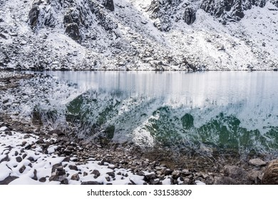 Snowy mountains reflecting in emerald water of the second Gokyo lake (Taujung Tsho), Everest region, Nepal
