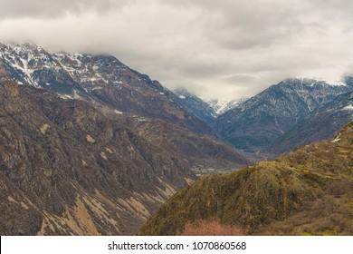Snowy mountains in Vall de Boi, Pyrenees, Lleida, Catalonia