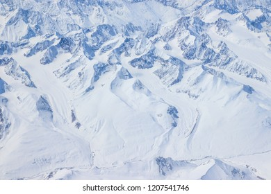 Snowy mountains and view . Himalayas Mountains, Top angle view.