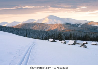 Snowy mountains in winter. The gentle light of the setting sun. View of a village with wooden houses. Skiing in fresh snow after snowfall